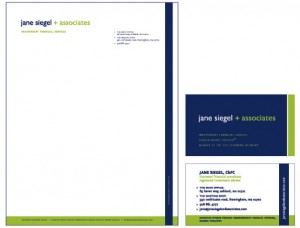 Jane Siegel & Associates, Financial Advisors: Logo & Stationery System